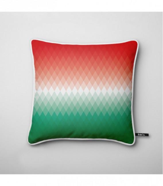 Coussin design : dégradé lumineux rouge, blanc, vert - Gradient A1