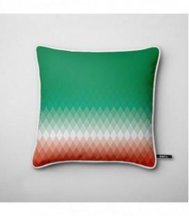Coussin design : dégradé lumineux rouge, blanc, vert - Gradient A2