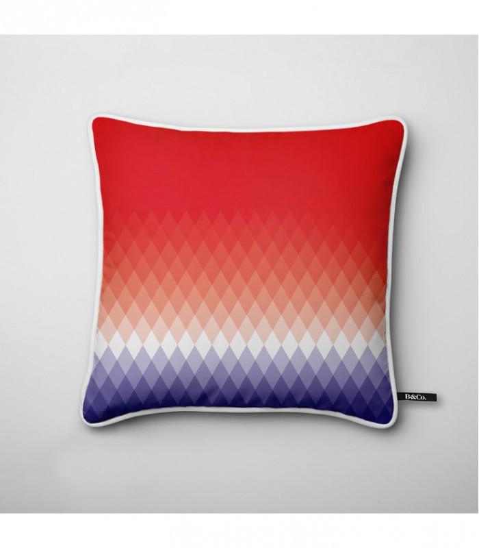 Coussin design d grad de losanges bleu blanc rouge - Coussin de canape design ...