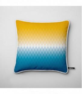 Coussin déco design : dégradé coloré jaune, blanc, bleu - Gradient C1