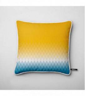 Coussin déco design : dégradé coloré jaune, blanc, bleu - Gradient C2