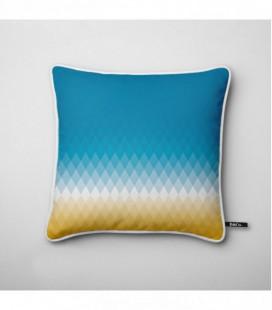 Coussin déco design : dégradé coloré jaune, blanc, bleu - Gradient C3