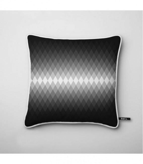 Coussin déco design : dégradé lumineux en noir et blanc - Gradient D1