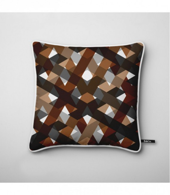 coussin d co design quadrillage marron beige gris. Black Bedroom Furniture Sets. Home Design Ideas