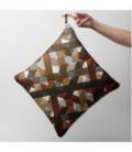 Coussin déco design : quadrillage marron, beige, gris - Lines A