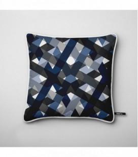 Cojín de diseño: trama de azules y grises - Lines B