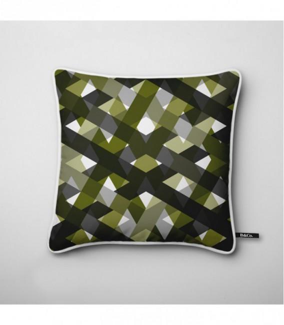 coussin pour une d co design quadrillage de gris et. Black Bedroom Furniture Sets. Home Design Ideas