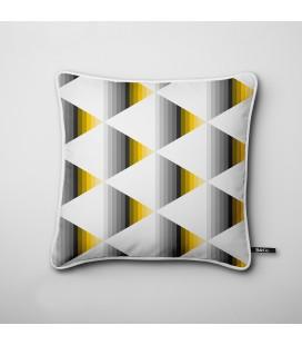Cojín de diseño: triángulos degradados en negro y amarillo - Hues A