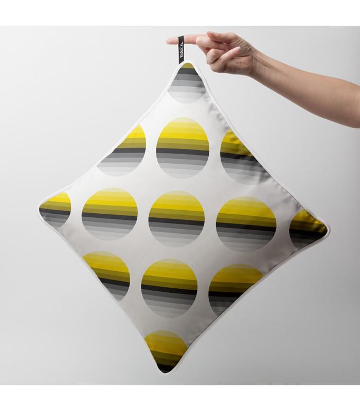 coussin d co design cercles d grad s en noir et jaune. Black Bedroom Furniture Sets. Home Design Ideas