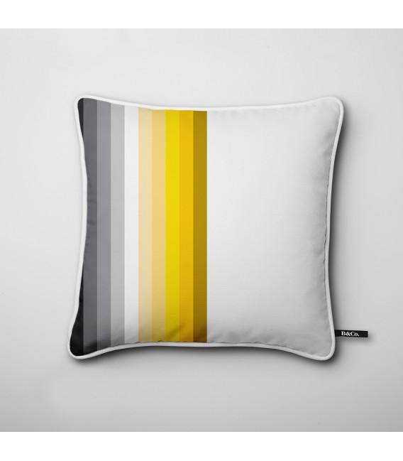 coussin pour une d co design bandes en noir et jaune. Black Bedroom Furniture Sets. Home Design Ideas