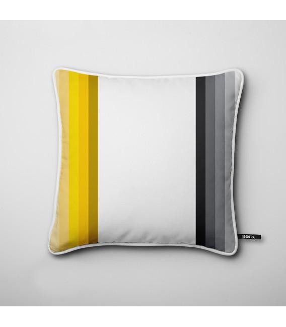 Coussin déco design : bandes verticales en noir et jaune - Hues D