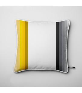 Cojín de diseño: tiras verticales en negro y amarillo - Hues D