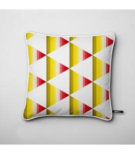 Cojín de diseño: triángulos degradados en rojo y amarillo - Hues E