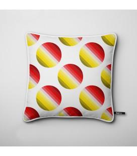 Cojín de diseño: círculos degradados en rojo y amarillo - Hues F
