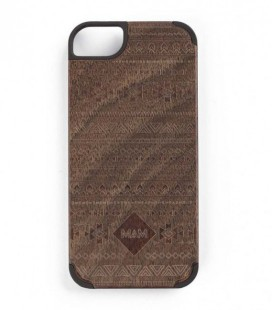 Carcasa original de madera para iPhone 5 - Diseño azteca nogal