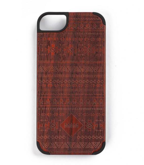 Coque originale en bois pour iPhone 5 - Design aztèque rouge