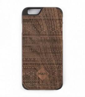 Carcasa original de madera para iPhone 6 - Diseño azteca nogal