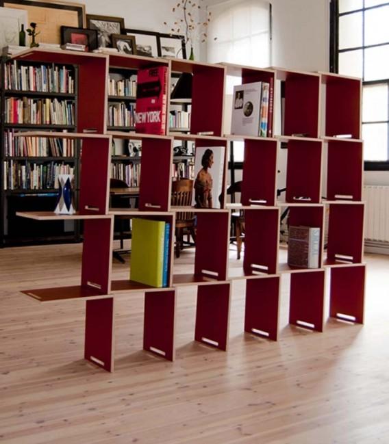 Innovadora y práctica librería modular en madera de abedúl laminada - rojo
