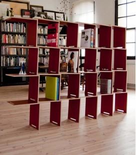 Bibliothèque modulaire en bouleau - rouge