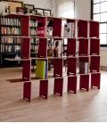 Librería modular en madera de abedúl - rojo