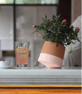 Pot de fleurs moderne et coloré en terre cuite - taille petite