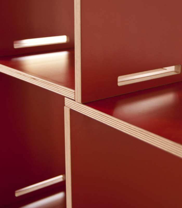 Librer a modular en madera de abed l rojo coolfidential - Madera de abedul ...