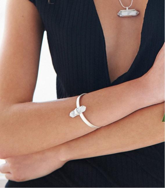 Bracelet rigide en argent et magnésite au design contemporain MARBLE