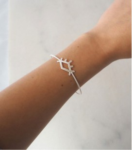 Pulsera rígida de plata de diseño contemporáneo y minimalista EYE