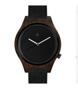 Reloj de madera de diseño - Colección unisex THE OWL BLACK LEATHER