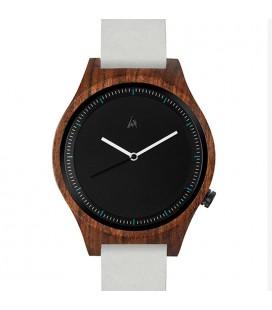 Reloj de madera de diseño - Colección unisex THE OWL GREY LEATHER