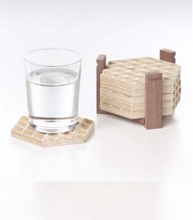 Posavasos de madera motivos geométricos 3D - pack de 6