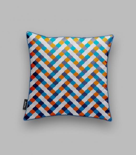 Coussin grille - bleu, orange, blanc