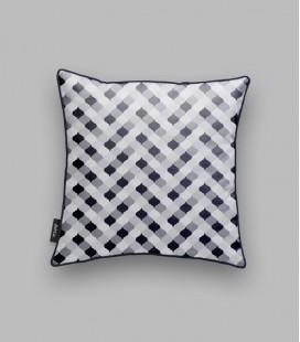 Coussin grille noir, gris - liseré bleu