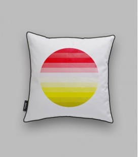 Coussin rond - rouge, jaune