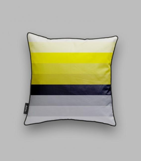 Coussin lignes horizontales - noir, jaune